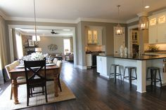 Open kitchen with a large eat-in space for informal entertaining.