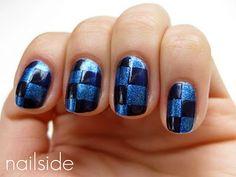 Dark & light blue checkered nails Nailside