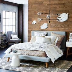 Mod Upholstered Platform Bed - Heathered Crosshatch