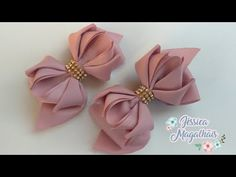 Ribbon Hair Bows, Diy Hair Bows, Diy Bow, Diy Ribbon, Bow Hair Clips, Fabric Headbands, Fabric Bows, Ribbon Flower Tutorial, Rainbow Loom Charms