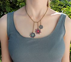 Textile boho macrame flowers necklace green by KnottedWorld