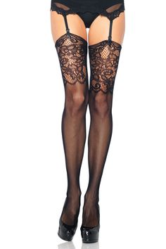 Socks by Sock Dreams » .Socks » Thigh Highs » Jacquard Lace Top Fishnet Stockings