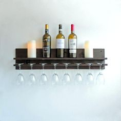 Rustic Wood Wine Rack Shelf & Hanging Glass Stemware Holder - Home Decor Creations Wall Wine Glass Rack, Wine Rack Shelf, Wine Shelves, Wine Glass Holder, Glass Shelves, Rustic Wine Racks, Wine House, Wine Sale, Stemless Wine Glasses