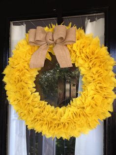 Hey, I found this really awesome Etsy listing at https://www.etsy.com/listing/120417918/summer-yellow-burlap-wreath-with-bow