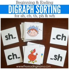 Digraph Sorting Picture Cards {for Beginning and Ending} Kindergarten Reading, Teaching Reading, Reading Resources, Kindergarten Worksheets, Teaching Math, Teaching Addition, Blends And Digraphs, Literacy Activities, Literacy Centers