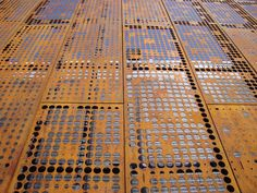Perforated Metal Panel, Metal Panels, Metal Facade, Metal Screen, Facade Architecture, Concept Architecture, Building Skin, Weathering Steel, Wood Cladding