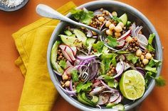 A refreshing vegan side salad packed with healthy vegetables, lime and coriander.