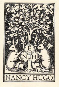 ≡ Bookplate Estate ≡ vintage ex libris labels︱artful book plates - rabbits