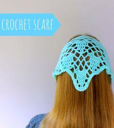 Lazy Daisy Jones find details here http://lazydaisyjones.blogspot.co.uk/2014/08/lacy-crochet-headscarf.html ༺✿ƬⱤღ  http://www.pinterest.com/teretegui/✿༻