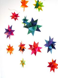 Hanging Nursery Origami Star Mobile 'Vela' Rainbow by theStarcraft, $58.00