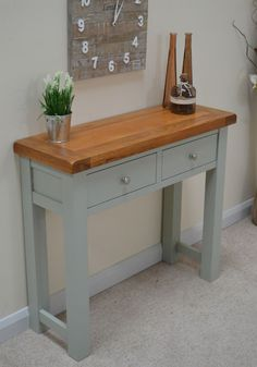 Camborne Painted Oak 2 Drawer Console Table w/ Shelf Sea Green / Sage Hall Table