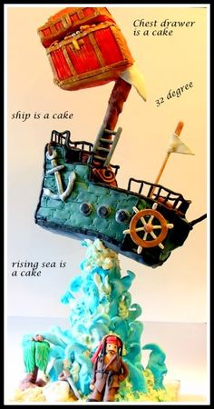 Whimsical pirate theme cake