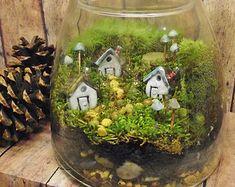 Large Miniature Landscape, Live Moss Terrarium with tiny raku fired ceramic houses and mushrooms- Handmade by Gypsy Raku