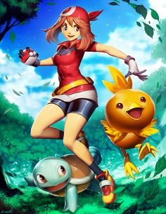 """genzoman: """"Hi there guys! This is a commission done some time ago about the classic/traditional May/Haruka, from Pokemon Ruby, Sapphire, and Emerald. My kid asked me to draw her along Torchic and..."""