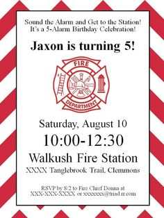 """My """"baby"""" (Jaxon) just turned five! Where does the time go? Anyhoot, this year he wanted to have a firefighter/fire truck themed birthday. Fireman Party, Firefighter Birthday, Firefighter Games, Little Man Birthday, Third Birthday, 5th Birthday Party Ideas, Party Invitations Kids, Fire Trucks, Party Printables"""