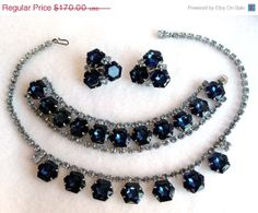 Blue Rhinestone Necklace Earrings & Bracelet by thejewelseeker, $136.00