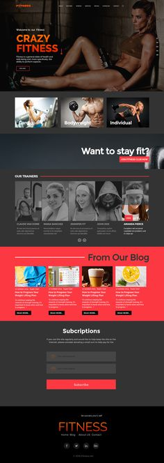 #Crazy_Fitness has #modern and #functional #design created for #Fitness #industry #website. The #theme is perfectly suitable for #Gym, #fitness club, #health centers, personal #trainers and health related business.