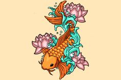"""Koi fish are the domesticated variety of common carp. Actually, the word """"koi"""" comes from the Japanese word that means """"carp"""". Outdoor koi ponds are relaxing. Japanese Koi Fish Tattoo, Koi Fish Drawing, Japanese Tattoo Symbols, Japanese Tattoo Designs, Fish Drawings, Japanese Sleeve Tattoos, Hard Drawings, Kio Fish Tattoo, Fish Tattoos"""