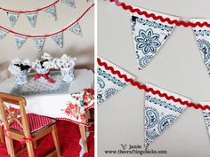 Red, white & blue #bunting with a welcome home message?