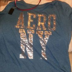 Shirt Like bluishish green turquoise color very pretty and gold lettering NWOT Aeropostale Tops Tees - Short Sleeve