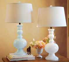 "Pottery Barn ""Gemma"" milk glass table lamps"