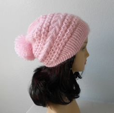 Hand knited luxury mohair blend hat