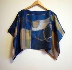 Blusa in seta seta dipinta a mano-sciarpa dipinta a di gilbea