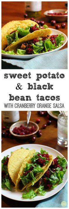 Sweet potato & black bean tacos with cranberry orange salsa - A fun way to use fresh cranberries. Vegan & gluten-free   cadryskitchen.com