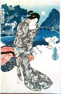 Aizuri-e, Bijin in Moonlight with bats on Kimono by Kunisada
