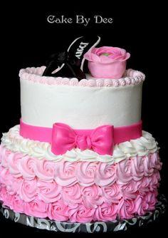 Buttercream Cake Decorating Ideas | Pink Hombre Birthday Cake by CakesByDee | Cake Decorating Ideas