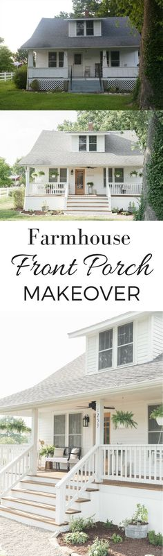 Farmhouse Porch Curb Appeal Makeover Reveal - Farmhouse on Boone Front Porch Makeover, Home Exterior Makeover, Door Makeover, Style At Home, Farmhouse Front Porches, Farmhouse Windows, Small Porches, Farmhouse Landscaping, Trendy Home