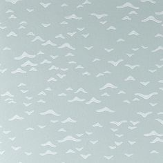 Yukutori Wallpaper - A stylish wallpaper with a simple design taken from a mid-twentieth century Japanese pen and ink drawing. Yukutori meaning birds flying away in a group. Shown in white on eau de nil. Due to the traditional nature of the printing process, the design has a soft, raised texture and a beautiful vein-like effect.