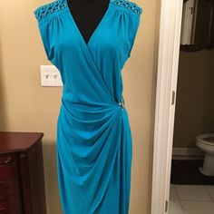 Cache dress Turquoise dress with gold Cache Dresses Midi