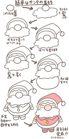How to Draw Quickie Santa Sketchnote Love For everyone who wants to learn to draw a Santa Claus, this simple guide is intended. Cute Easy Drawings, Art Drawings For Kids, Doodle Drawings, Drawing For Kids, Art For Kids, Easy Christmas Drawings, Christmas Doodles, Kids Christmas, Christmas Crafts