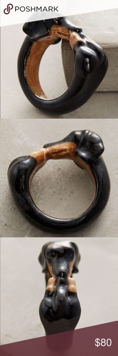 Dachshund Ring Dachshund Portrait Ring Handpainted porcelain M/L: 7-8 Anthropologie Jewelry Rings