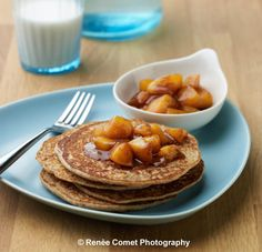 Enchanted Vanilla Pancakes with Chai-spiced Peach Compote are enchanted with the nutrition of beans which should make you rest easy feeding them to your family.    These also have whole wheat, oats, and ground flax-seed. Why call them enchanted? It's magical the way even the  most determined bean hater will not have a clue that their dreaded enemy is inside these innocent vanilla pancakes! #vegan #beans #brunch #peaches