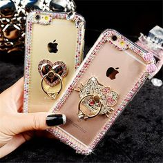 For iPhone 5 5S 6 6S 7 Plus Rhinestones finger ring buckle diamond Glitter with Lanyard phone case soft back cover handmade DIY