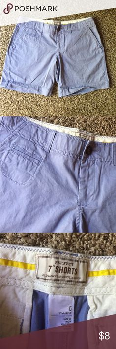 """Old Navy Blue Perfect 7"""" Low Rise Shorts 16"""" waist and 7"""" inseam. 97% cotton and 3% spandex. Old Navy Shorts"""