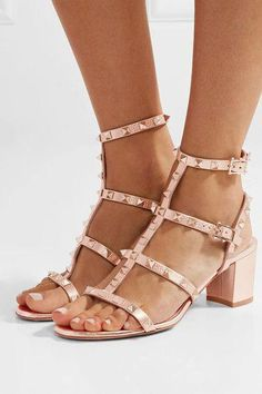 d57c4eeb069 VALENTINO sophisticated The Rockstud metallic textured-leather sandals   Valentino Valentino Studded Shoes