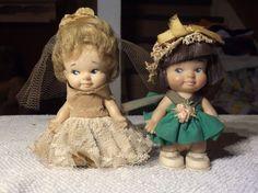 """2 Vintage 1965 Pee Wee Dolls 3-1/2"""" Uneeda Doll Co in original clothes"""