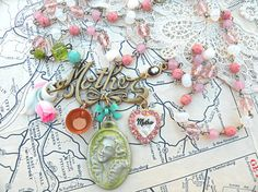 mother necklace assemblage upcycled mom jewelry by lilyofthevally