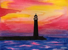 Watercolor Paintings of Lighthouses   Watercolor Examples