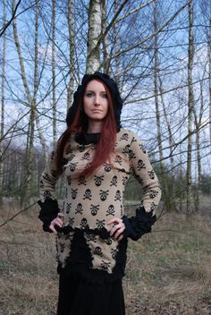 Skull Witch Goth Recycled Sweater Hoodie Top by MariArtFelting