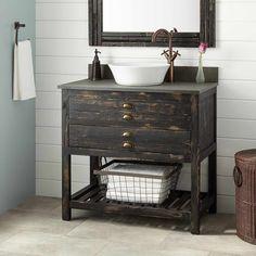 """36"""" Benoist Reclaimed Wood Vessel Sink Vanity - Distressed Pine"""