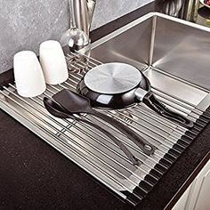 Over the Sink, Kitchen Drainer, OUTAD Roll-Up Dish Drying Rack Multipurpose Foldable Rack Kitchen Dish Drainer (Deep Grey): Amazon.co.uk: Kitchen & Home