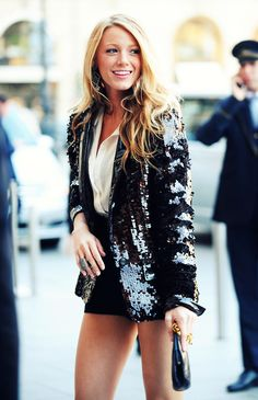 black shorts white top black sequins blazer summer formal smart casual hair makeup Blake Lively