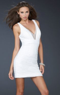 Straps V Neck Beaded Short Ruched Sleeveless Fashion Flattering White  Cocktail Dress Sydney Tight Prom Dresses 33de74b188d6