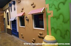 """Old Town"" village kid's church themed environment. www.ImaginationAtmospheres"