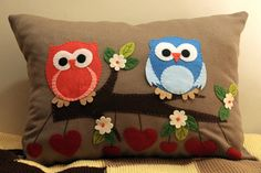 Owl Pillow Decorated With Felt by 1tutamkece on Etsy, $30.00