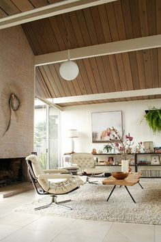 Mid century modern living room with tall fireplace  My house does not compare to how amazing this is...